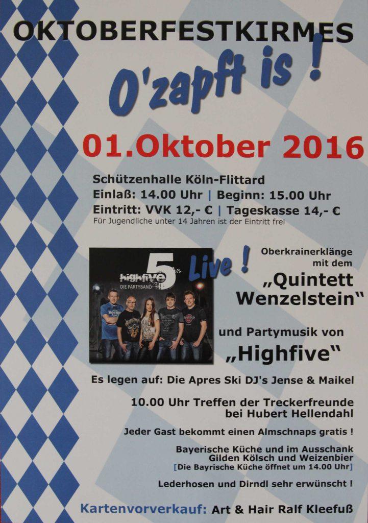 Plakat der Flittarder Oktoberfestkirmes 2016