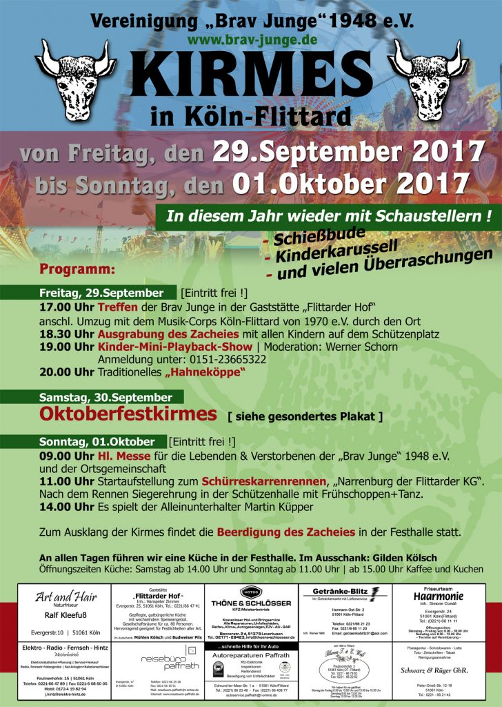 Werbeplakat für die Flittarder Kirmes 2017