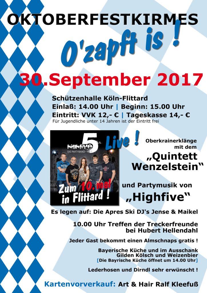 Werbeplakat für das Flittarder Oktoberfest 2017